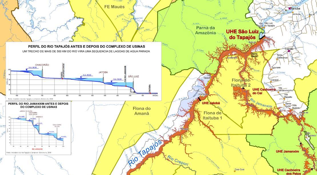 Previsão do complexo hidrelétrico no Tapajós
